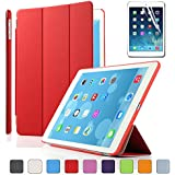 Besdata For Apple iPad Air Magnetic Smart Cover Stand + Hard Back Case Free Stylus - Supreme Quality - Protects the Device - UK Stock - Red - PT4103