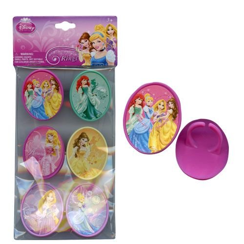 Disney Princess 6pk Cupcake Topper Rings with Sticker on Plastic Insert