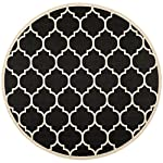 "Safavieh Courtyard Collection CY6914-266 Black and Beige Indoor/ Outdoor Round Area Rug (53"" Diameter)"
