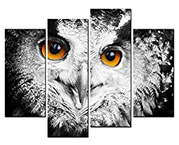 Canval prit painting Animal Wall Art a Owl\'s Head Close-up with Bright Orange Eyes 4 Panel Picture on Canvas