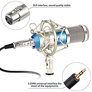 Neewer® NW-800 Microphone Set Including (1)NW-800 Professional Condenser Microphone + (1)Microphone Shock Mount + (1)Ball-type Anti-wind Foam Cap + (1)Microphone Power Cable (Blue)