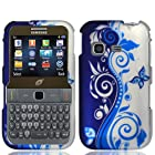 Combo Accessory for Samsung S390G Straight Talk Net 10 TracFone - Blue & Silver Vine Designer Protective Hard Case Snap On Cover + SportDroid Transparent Decal