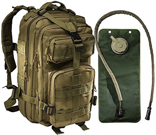 Tactical Assault Military Army Style Backpack By Monkey Paks with Hydration Water Bladder Included * Acu Camo * Black * Tan * Water Resistant Rucksack * Molle Compatatible * Great for Bug Out Bag or Daypack * 600 D Nylon Multiple Zippered Pockets to Keep