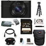 Sony Cyber-shot DSC-RX100 Digital Camera (Black) with 64GB Deluxe Accessory B...