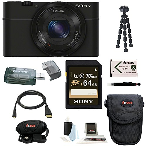 Cheapest Price! Sony Cyber-shot DSC-RX100 Digital Camera (Black) with 64GB Deluxe Accessory Bundle