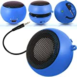 Impexo Blue Super Sound Rechargeable Mini Pocket Size Portable Capsule Speaker 3.5mm Audio Jack Cable Built In With USB Charger Lead Suitable for BlackBerry Pearl 8110 Phone