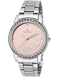 Swisstone HART236-PNK-CH Pink Dial Stainless Steel Chain Analog Wrist Watch For Women/Girls