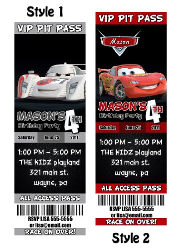 Disney Cars 2 Custom Party Photo Invitation Tickets - You Print