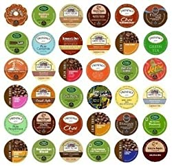 36 Different Unique K-Cup Coffee Sampler for Keurig Brewers -- Green Mountain, Gloria Jean's, Timothy's, Coffee People, Donut House, Tullys, Twinings, Celestial Seasonings, Emeril's, Caribou, Grove Square, Caza Trail, Van Houtte, Barista Prima, Bigelow, a