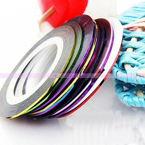 Generic 10Pcs Colorful Rolls Nail Art Tips Striping Tape Line Sticker DIY Decoration by Generic