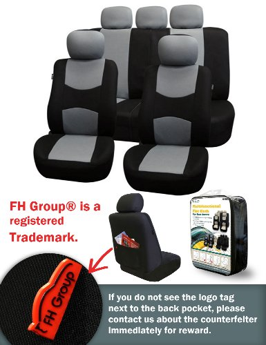 Fh-Fb051115 Multifunctional Flat Cloth Car Seat Covers, Airbag Compatible And Split Bench, Gray / Black Color