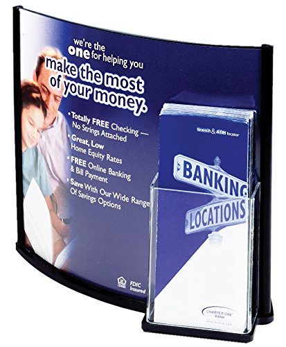 Displays2go Convex Sign with Pamphlet Dispenser Holds 8-1/2 x 11 Inches or 13 x 11 Inches Images, Black Plastic Border (CX1311C) (Pamphlet Dispenser compare prices)