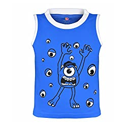 Orange and Orchid Boys Casual Printed Cotton Round Neck Sleeveless Blue Color T-Shirt