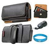 Black Horizontal Premium Leather Holster Carrying Case with Removable Belt-Clip for T-Mobile HTC Sensation 4G Android Smartphone + RETRACTABLE HOME CHARGER + SumacLife TM Wisdom*Courage Wristband