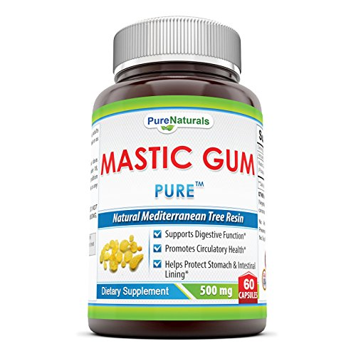 Pure Naturals Mastic Gum- 500mg, 60 Capsules- Supports Digestive Function*- Promotes Circulatory Health*- Helps Protect Stomach & Intestinal Lining*