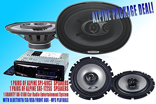 "Alpine Packpage Deal! 1 Pair Alpine 6X9"" Spj-69C3 + 1 Pair Alpine Sxe-1725S 6.5"" Car Speaker + 300W Gravity Agr-S205Bt Car Stereo Receiver - Built-In Bluetooth/Sd/Usb/Front Aux - Mp3 Playable"