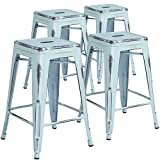 Flash Furniture High Backless Distressed Dream Metal Indoor Counter Height Stool (4 Pack), 24, Blue