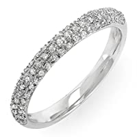 0.25 Carat (ctw) Round White Diamond Ladies Pave Anniversary Wedding Band Stackable Ring 1/4 CT
