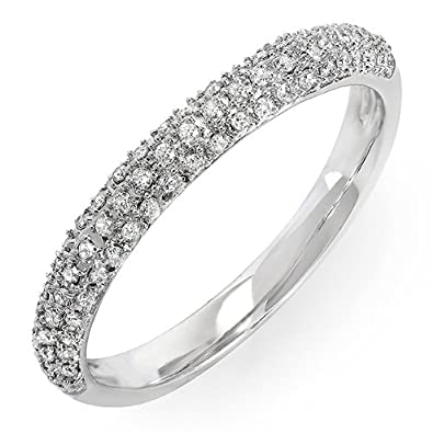 0.25 Carat (ctw) 10k White Gold Round Diamond Ladies Pave Anniversary Wedding Band Stackable Ring 1/4 CT