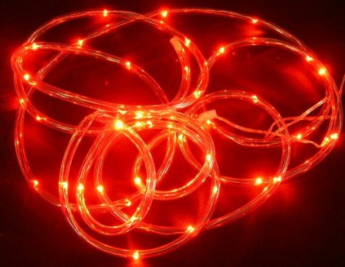 Clear Rope Battery Light With 30 Led Lights-10 Ft-Red