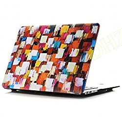 DHZ MacBook Air 13 Inch Case - Creative Ink Spray Painting Colorfull Grid Ultra Slim Lightweight Rubber Coated Soft Touch Plastic Hard Cover For Apple MacBook Air 13.3