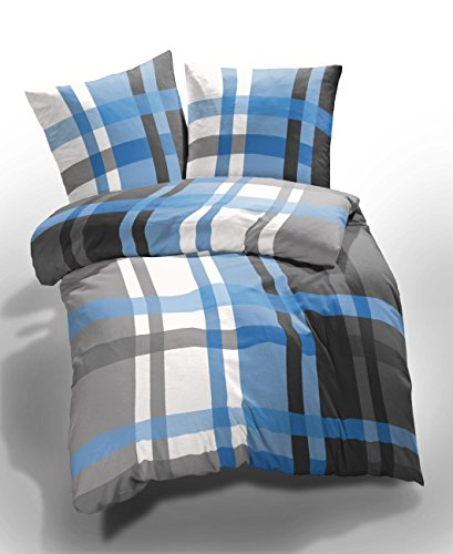 2 tlg et rea microfaser bettw sche urban checks kariert karo blau grau wei 155x220 cm 80x80. Black Bedroom Furniture Sets. Home Design Ideas