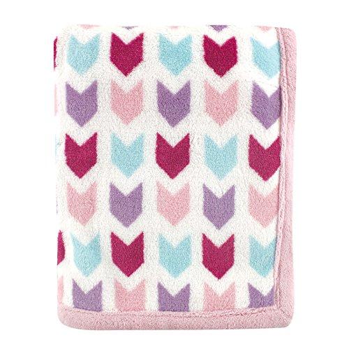 Hudson Baby Hudson Baby Print Coral Fleece Blanket, Pink Chevron