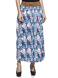 Wisstler Women's Multi Color Rayon Printed Long Skirt Size: 28