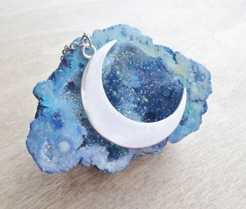 Large Silver Crescent Moon Necklace