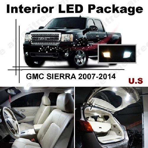 Xenon White Led Lights Interior Package + White Led License Plate Kit For Gmc Sierra 2007-2014 ( 12 Pcs )