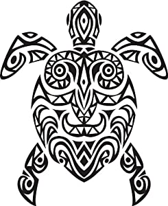 TRIBAL ABORIGINAL ART DETAILED TURTLE BLACK WHITE Vinyl Decal Sticker
