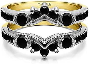 Silver Half Halo Classic Ring Guard with Black Diamonds 1 ct twt