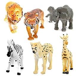 NUOLUX 6pcs Farm Animals Toy Plastic Model Tiger Leopard Lion Giraffe Zebra Elephant Wild Animals