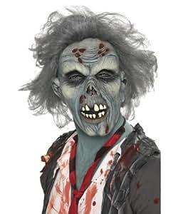 Smiffy's 36852 - Gruselige Zombie Maske mit Kunsthaaren - Einheitsgröße, grau