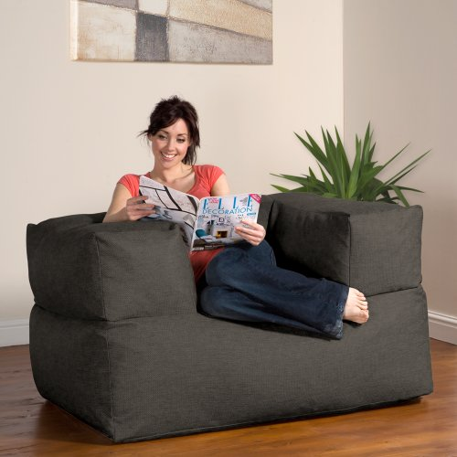 BaZi ® Armchair Sofa Bean Bag in CHARCOAL Barkweave Fabric
