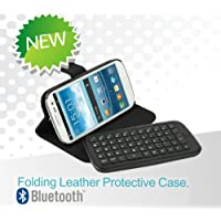 GSAstore - Leather Folio case with Wireless Bluetooth Keyboard for Samsung Galaxy S3 (SIII) i9300 AT&T, Verizon & Sprint Tmobile