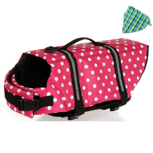 Outward Dog Life Jacket For Dog Safety Vest Dog Jacket Dog Preservers Saver + Dog Bandana, Pink Ploka Dot, M