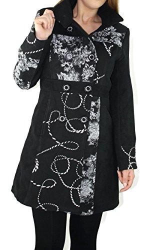 #947 Damen Mantel Jacke Patchwork Winter Trenchcoat Wintermantel Braun Beige Grün 36 38 40 42 44 46 (40, Schwarz)