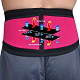 BACK SUPPORT BELT - Unique New Hi-Tech Fabric Offers Non-Sweat Comfort (Raspberry MED) Can be worn directly on skin safely without rash. Broad fitting wraparound front closure belt and additional DUAL TENSION CONTROL side-closures offer easy loosening fo