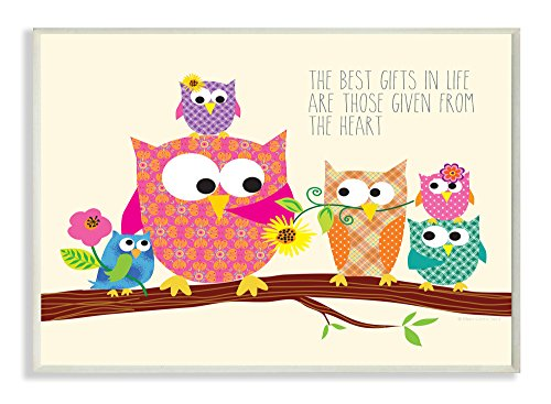 The Kids Room by Stupell The Best Gifts in Life are Those Given From the Heart Owls Rectangle Wall Plaque