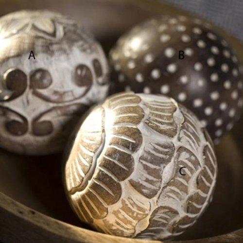 Nkuku Scallops Decorative Mango Wood Ball