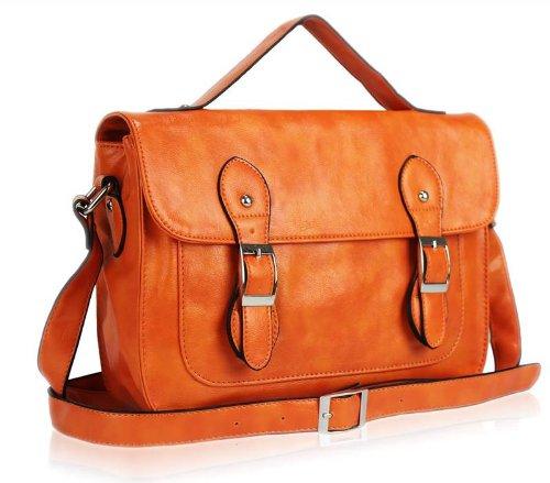 Ladies Womens Vintage Satchel Messenger Shoulder Bag Cross Body Handbag Orange