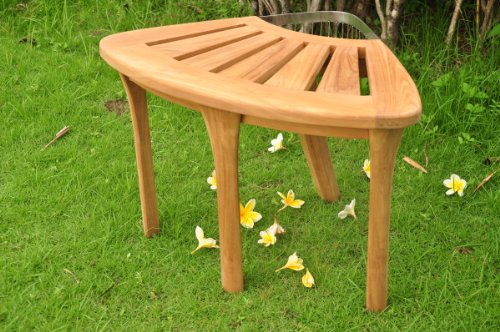 Grade-A Teak Wood Corner Stool / Shower Bench / Bath Seat with Accessory Basket