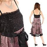 パーティードレス スパンコール 結婚式ドレス ピンク×黒 15号サイズ 801066