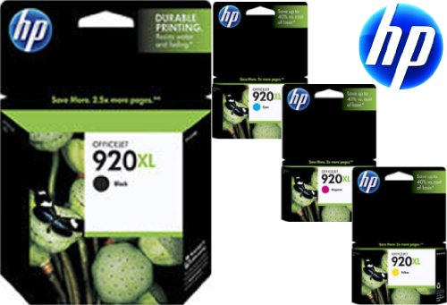 Genuine HP 920XL 920 XL 4-Color Pack Inkjets (Black, Cyan, Magenta, Yellow), Retail Boxes, 2011 Code Date