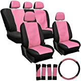 OxGord 17pc Leatherette Seat Cover Set, Airbag Compatible, for SUZUKI FORSA, Pink & Black
