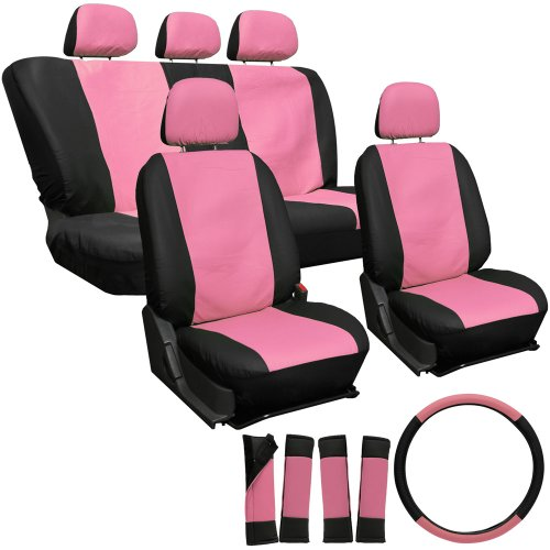 OxGord 17pc Leatherette Seat Cover Set, Airbag Compatible, for TOYOTA COROLLA, Pink & Black (Pink Toyota Corolla Seat Covers compare prices)
