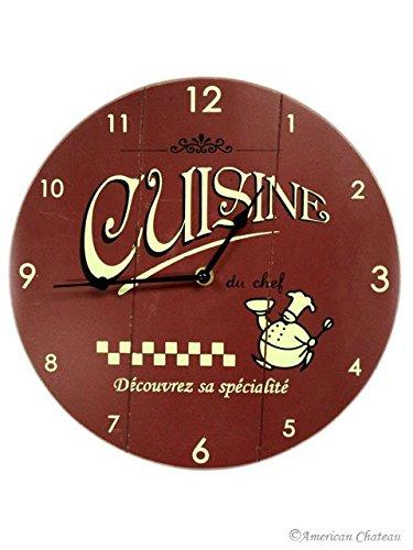 Burgundy Wood Fat French Chef Clock Bistro Kitchen Chefs Wall Home Wine Decor