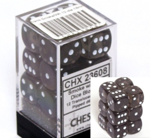 Chessex Dice d6 Sets: Smoke with White Translucent - 16mm Six Sided Die (12) Block of Dice