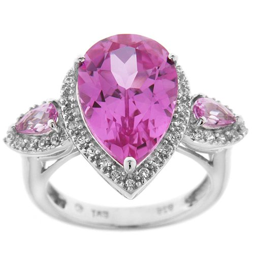 Sterling Silver Created Pink Sapphire and Created White Sapphire 3-Stone Ring, Size 6